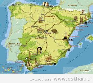 карта испании c достопримечательностями